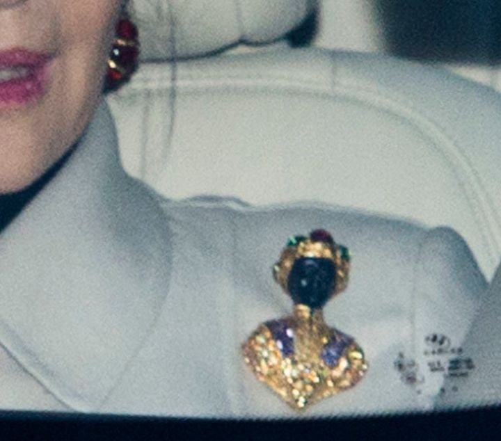 A close-up view of the brooch.