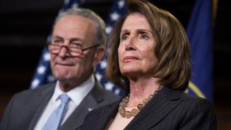 UNITED STATES - NOVEMBER 02: Senate Minority Leader Charles Schumer, D-N.Y., and House Minority Leader Nancy Pelosi, D-Calif., conduct a news conference in the Capitol Visitor Center to voice opposition to the Republicans' tax reform plan on November 2, 2017. (Photo By Tom Williams/CQ Roll Call)