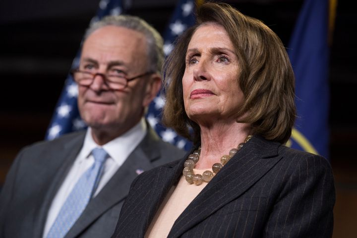 Senate Minority Leader Chuck Schumer (D-N.Y.) and House Minority Leader Nancy Pelosi (D-Calif.) hold a press conference again