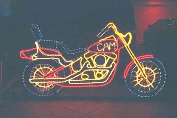 The motorcycle light display that Doug Musson created was in honor of his late son, Cam.