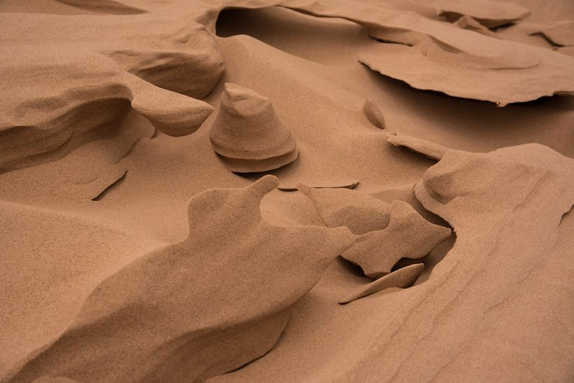 A close up of the ice, sand formations created by the blowing winds.