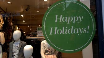 Copenhagen/Denmark/ _ 17th November 2015 _Swedish etail H&M uses Happy holiday instead Merery christmas just like in United States Happy holiday not merry christmas (Photo by Francis Joseph Dean/Deanpictures) (Photo by Francis Dean/Corbis via Getty Images)