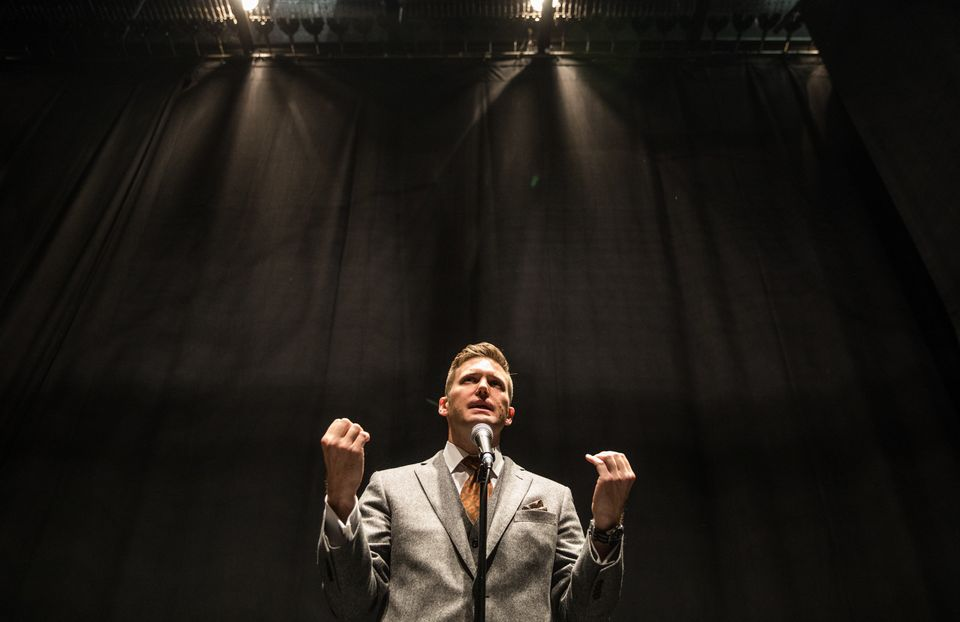 Richard Spencer addresses the media on Oct. 19, 2017, at the University of Florida, which initially...