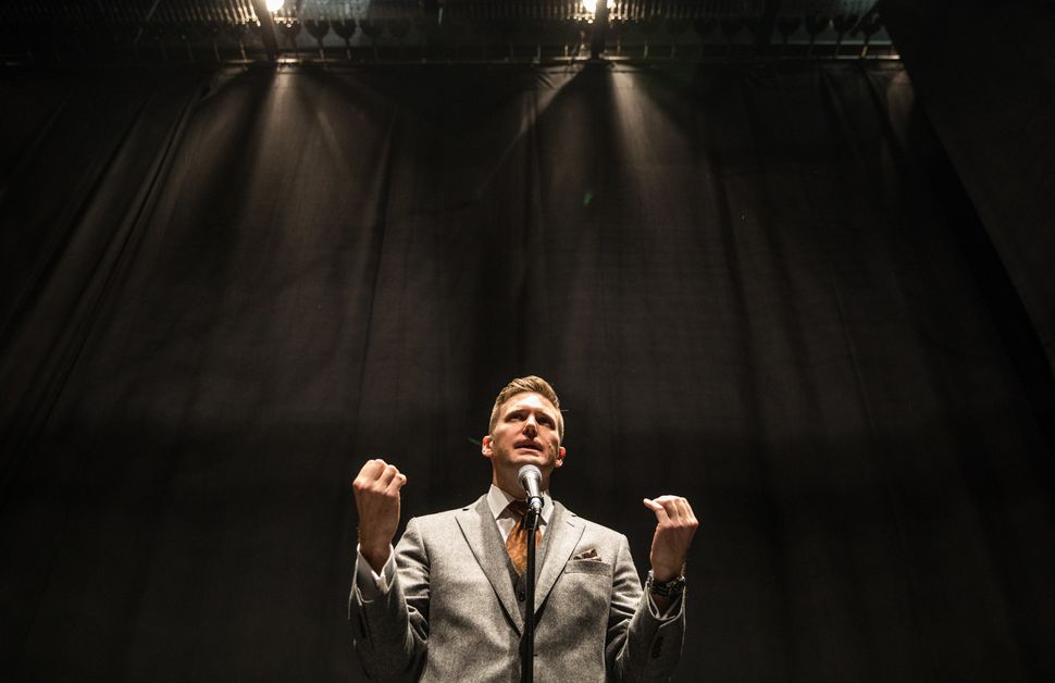 Richard Spencer addresses the media on Oct. 19, 2017, at the University of Florida, which initially resisted hosting him