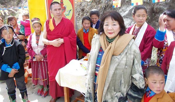 <em>Dr. Kazuko Hillyer Tatsumura, founder of Gaia Holistic Foundation, at theTibetan Buddhist Orphanage at Manjushree. Photo
