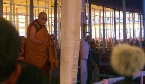 <em>His Holiness presiding over the Kalachakra ritual in Bodh Gaya, India. Photo: Jim Luce.</em>