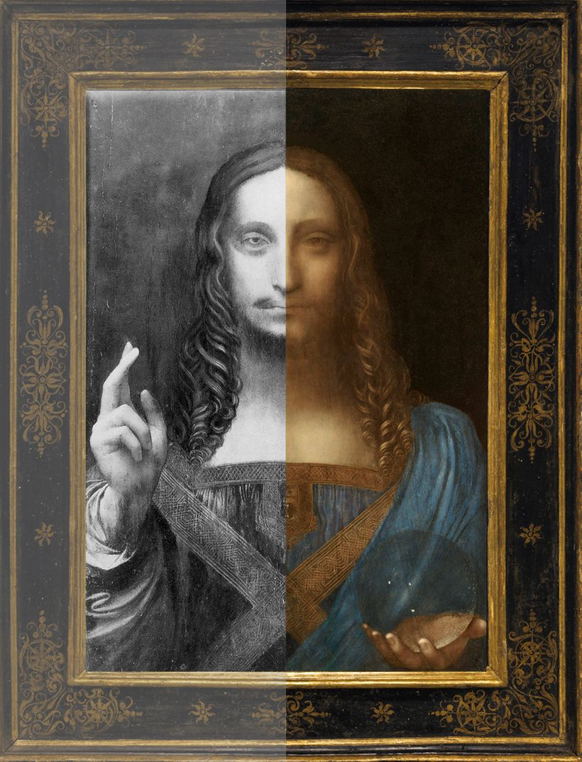 <em>Salvator Mundi</em>: Before (B&W Photo) and After Restoration