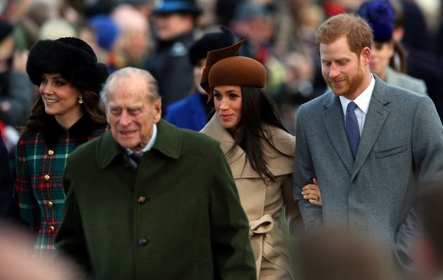 Meghan Markle, pictured arm-in-arm with Prince Harry, the Duchess of Cambridge and Prince