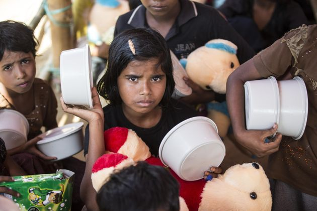 Rohingya children at a refugee camp in