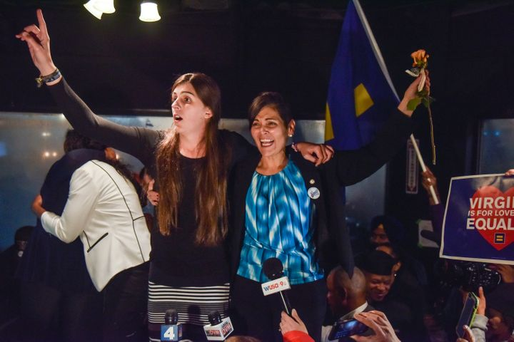 Danica Roem, left, and Hala Ayala, two new Democratic members of the Virginia House of Delegates, celebrate the election resu