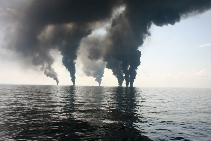 Deepwater Horizon surface oil burning, June 2010