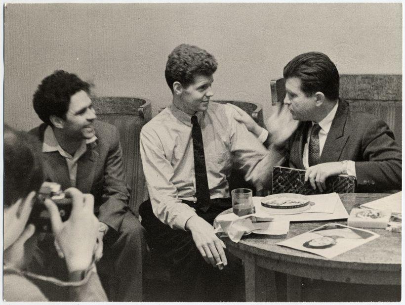 from left: Fellow competitor Lev Vlassenko, Van Cliburn, and jury member Emil Gilels