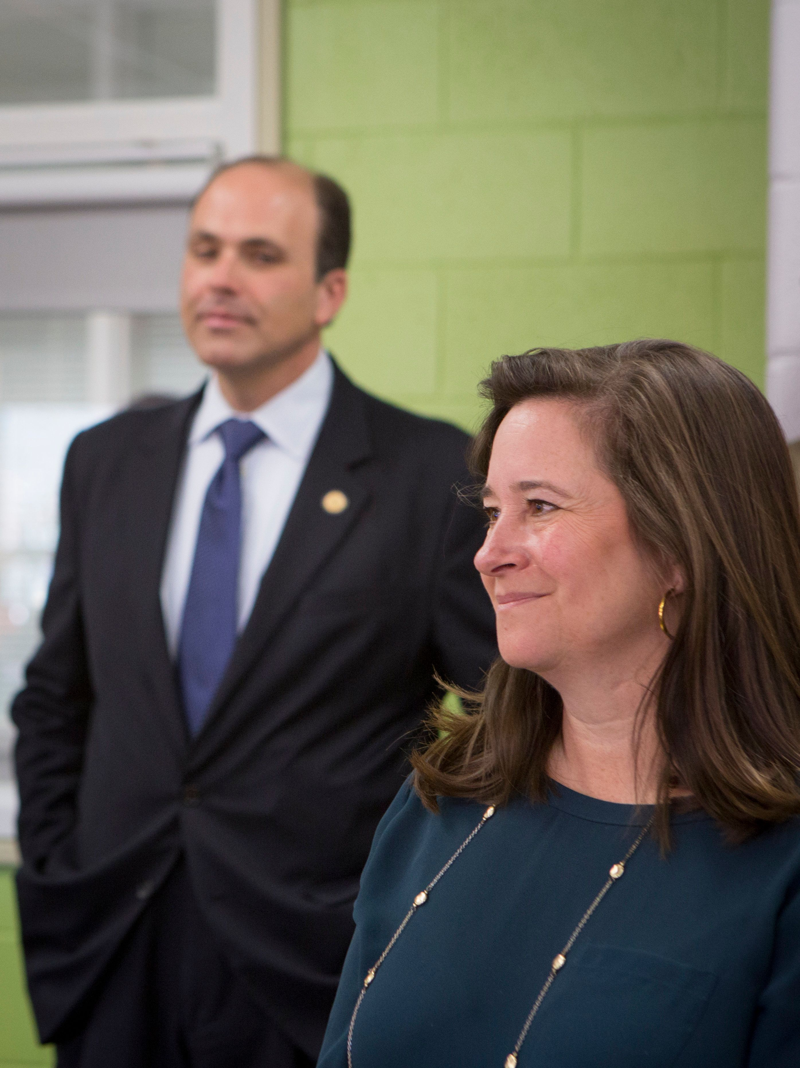 NEWPORT NEWS, VA - November 28:  Republican David Yancey and Democrat Shelly Simonds attend a 'take your legislator to school day' Tuesday, November 28 at Heritage High School in Newport News, Va. Yancey leads Simonds by ten votes in the 94th District in the Virginia House of Delegates race. (Photo by Julia Rendleman for The Washington Post via Getty Images)