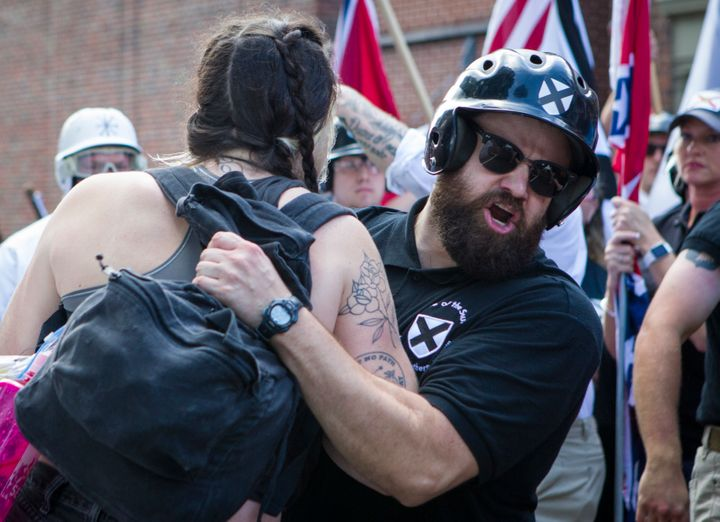 """White nationalists and counter-protesters clash at a """"Unite the Right"""" rally in Charlottesville, Virginia, on Aug. 12."""