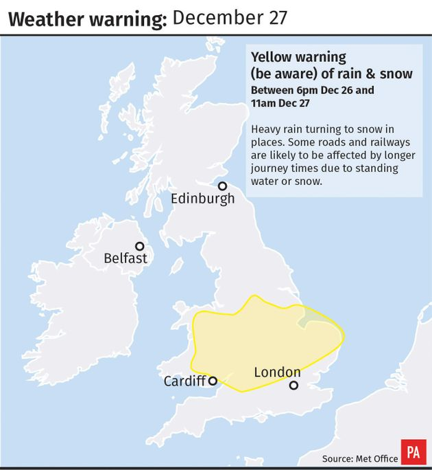 Weather warning graphic for December
