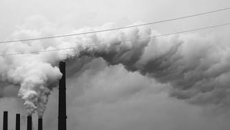 Carbon dioxide emissions from a coal-fired power plant.