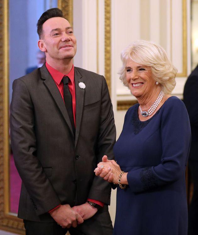 Craig Revel Horwood and the Duchess of Cornwall at Buckingham
