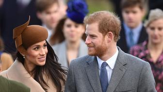 Prince Harry and Meghan Markle arriving to attend the Christmas Day morning church service at St Mary Magdalene Church in Sandringham, Norfolk. (Photo by Joe Giddens/PA Images via Getty Images)