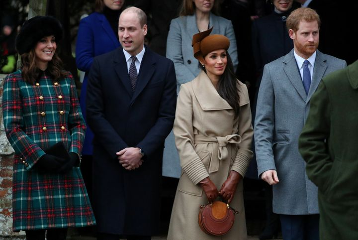 Catherine, Duchess of Cambridge, Prince William, Meghan Markle and Prince Harry leave St Mary Magdalene's church after the royal family's Christmas Day service.