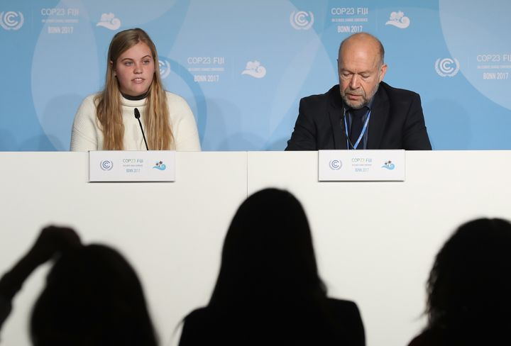Climate expert James Hansen appeared at a November conference in Germany on environmental issues with his granddaughter, Soph