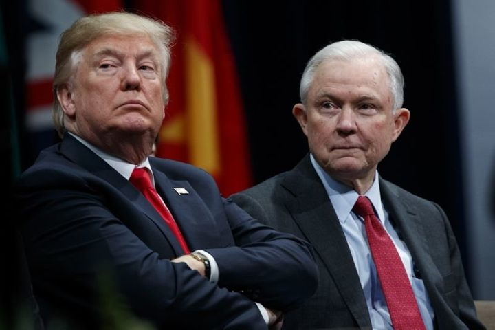 President Trump and Attorney General Jeff Sessions at the FBI National Academy graduation ceremony on Dec. 15, 2017, in Quant