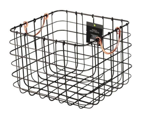 "Get them <a href=""https://www.target.com/p/small-milk-crate-wire-basket-antique-pewter-with-copper-colored-handles-threshold-"