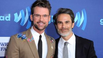 BEVERLY HILLS, CA - MARCH 21:  TV personality Brad Goreski (L) and fiance Gary Janetti arrive at the 26th Annual GLAAD Media Awards at The Beverly Hilton Hotel in Beverly Hills, California.  (Photo by Barry King/Getty Images)