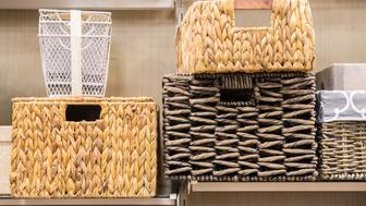 Assorted variety of home storage organizing baskets