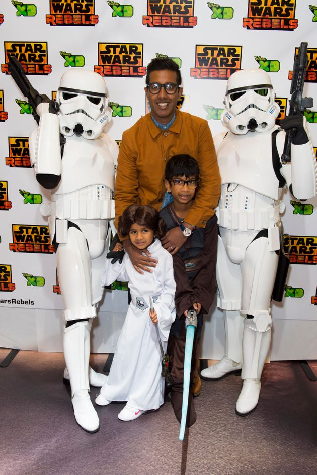 Nihal Arthanayake with his children at the premiere of 'Star Wars Rebels: Spark of Rebellion', in Leicester...