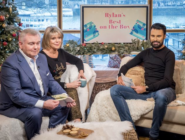 Rylan with 'This Morning' hosts Eamonn Holmes and Ruth