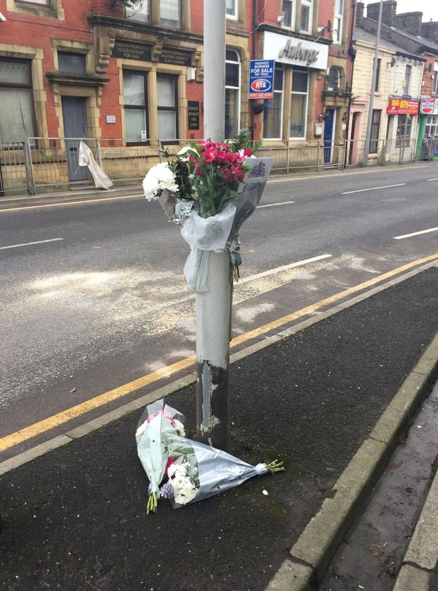 Floral tributes left at the scene of the