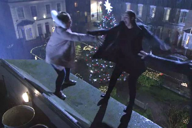Abi and Lauren Branning plunged from the roof of the Queen Vic on Christmas