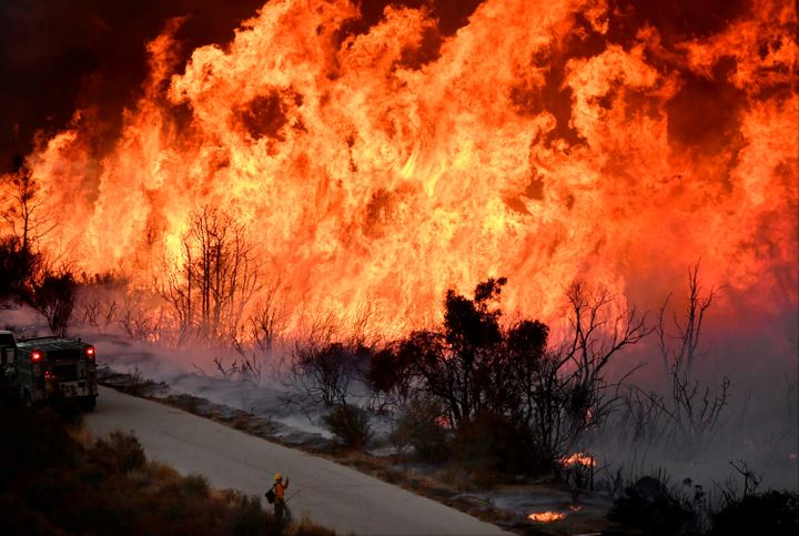 Firefightersbattle the massive Thomas fire near Ojai, California, on Dec. 9.