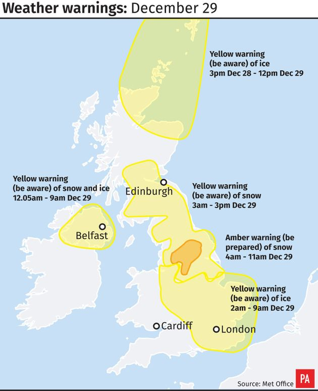 Yellow weather warning - unsafe ice overnight