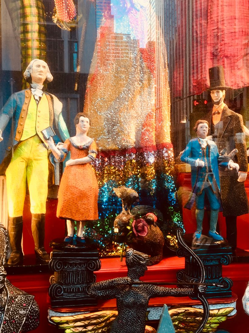 Abraham Lincoln in the windows at Bergdorf Goodman