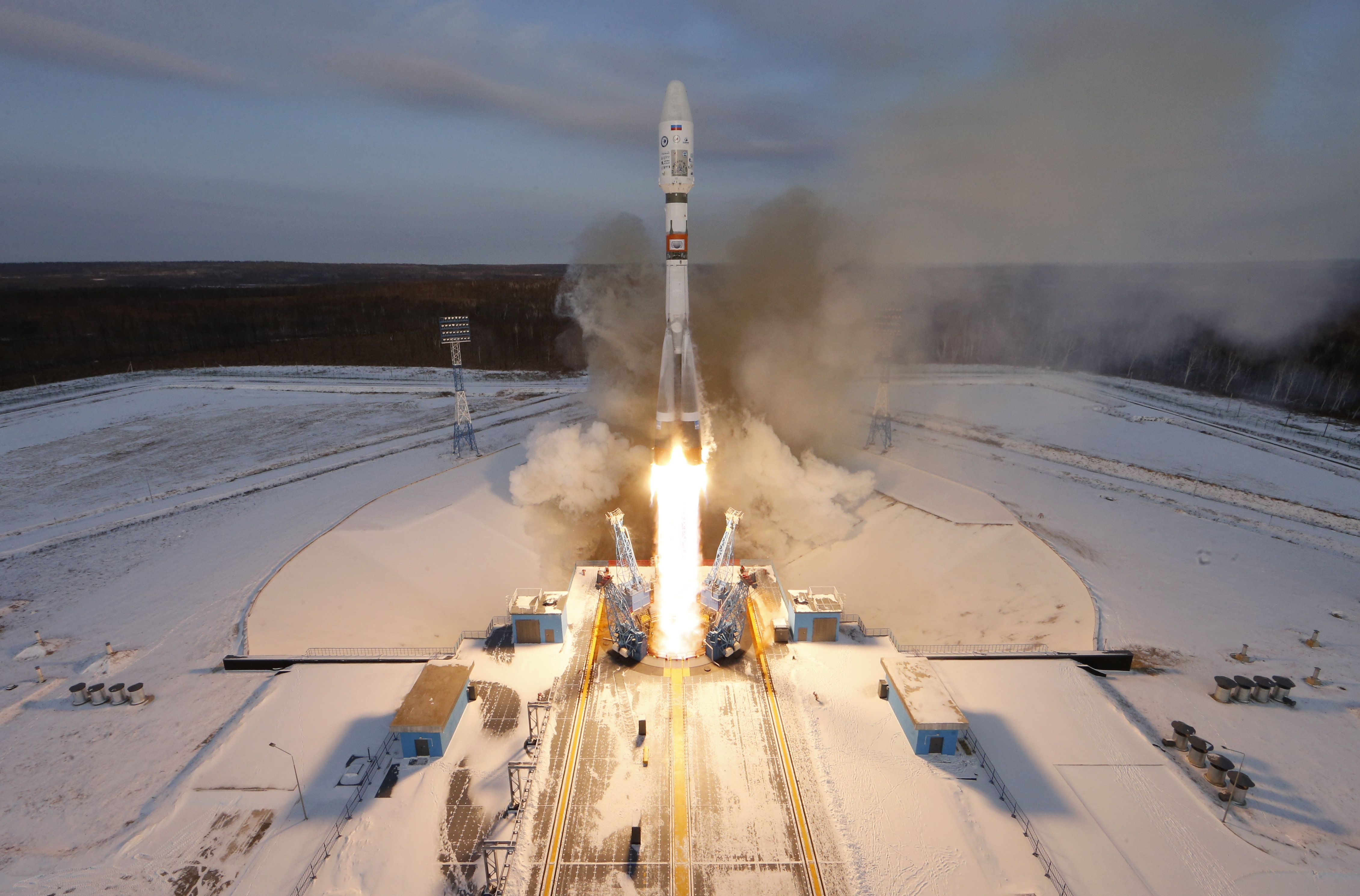 The doomed Soyuz-2 rocket launches from Russia's Vostochny Cosmodrome onNov. 28, 2017.