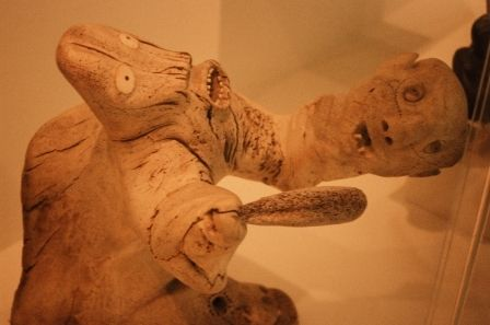 Wood sculpture of a shaman turning into an animal at the Gallery of Inuit Art