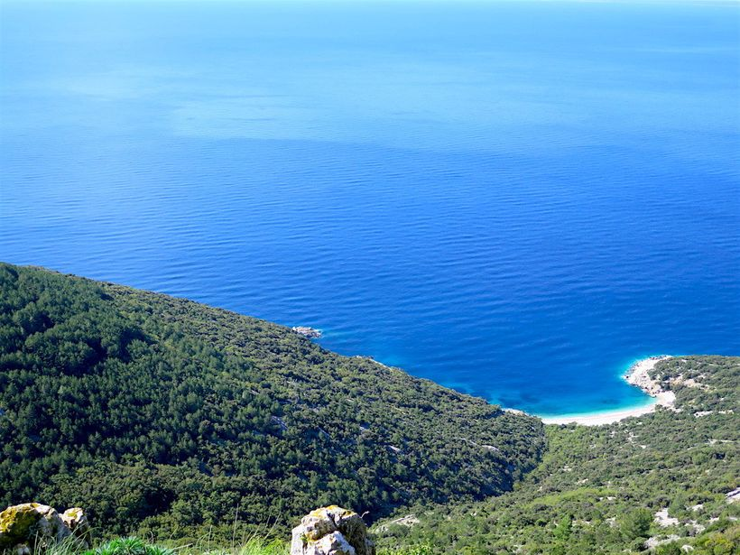 View of St. John Beach and Kvarner Bay from atop Lubenice