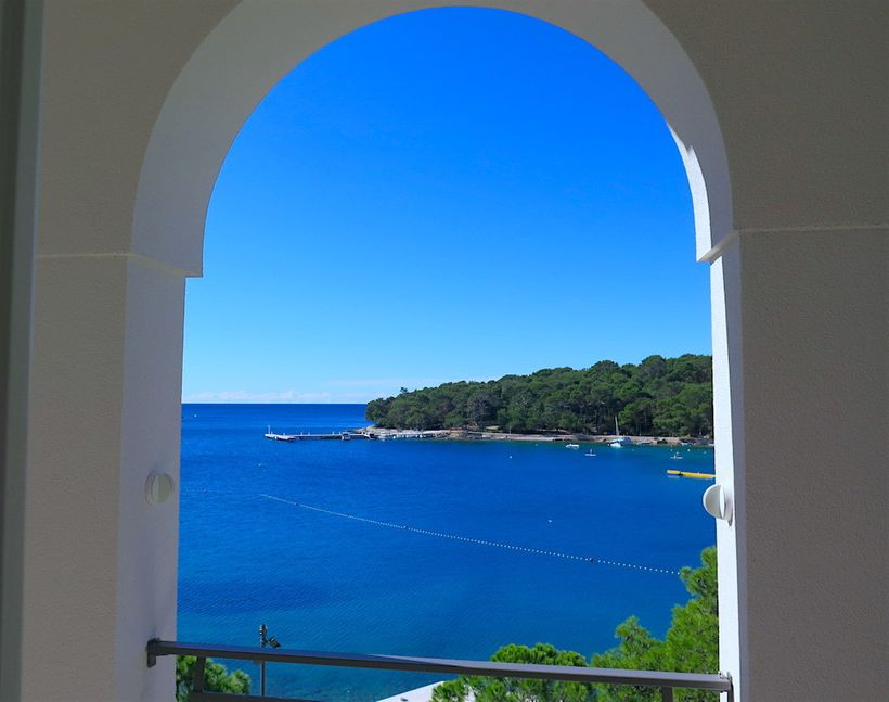 View of Čikat Bay from Villa Hortensia (Small Luxury Hotels of the World) on the Croatian isle of Lošinj