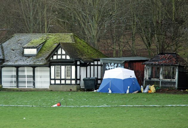 A police tent marks the area where forensic investigators were seen searching for clues