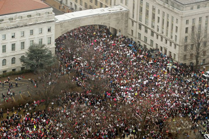 The Women's March crowds swell near the U.S. Capitol on Jan. 21.