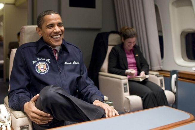 President Obama on his first trip aboard Air Force One. February 5, 2009.