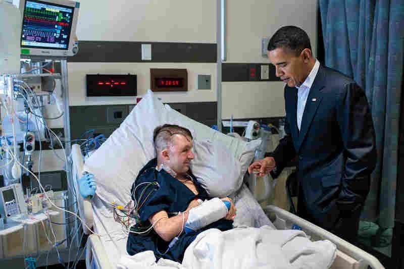 Visiting Army Ranger Cory Remsburg at Walter Reed hospital