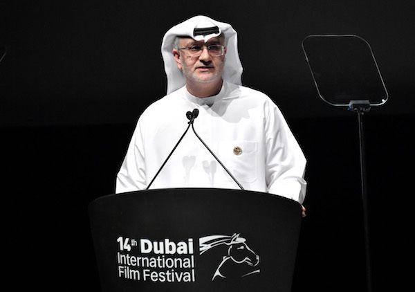 DIFF Artistic Director Masoud Amralla Al Ali speaks onstage during the Opening Night Gala of the 14th annual Dubai Internatio