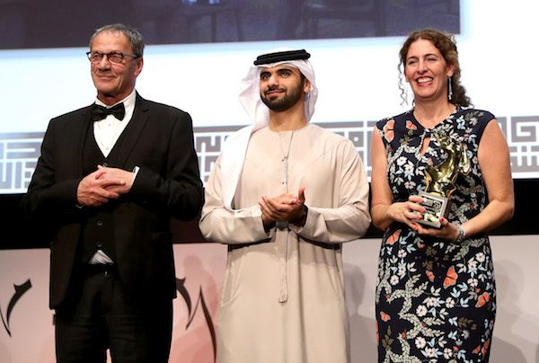 Palestinian director Annemarie Jacir (R) secured the Muhr Best Fiction Feature award for 'Wajib', photographed here with acto