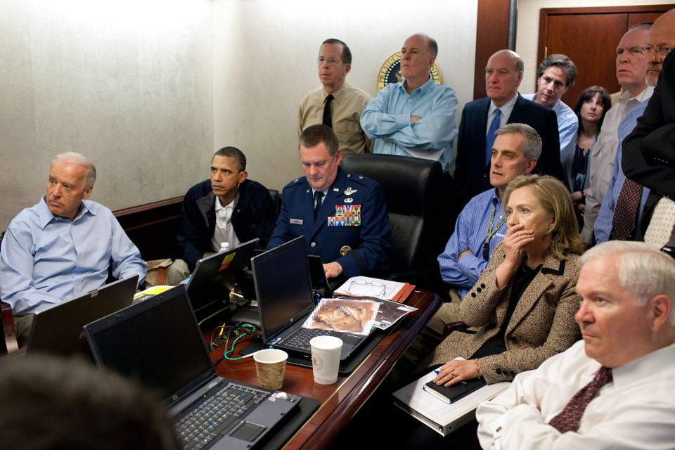 President Obama and members of his cabinet watch the Osama Bin Laden raid unfold in the White House Situation