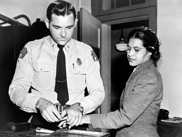 Parks gets her fingerprints taken in 1956 after she refused to move to the back of a bus to accommodate a white passenge