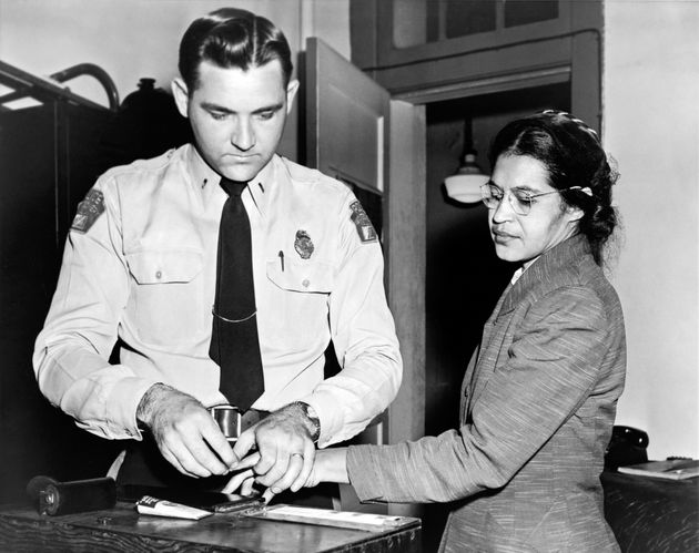 Parks gets her fingerprints taken in 1956 after she refused to move to the back of a bus to accommodate...