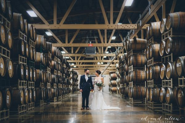 """""""Allison and Pat's wedding at Goose Island Barrel Warehouse in Chicago on Dec. 16.""""—<i>Ed and Aileen Photography</i>"""