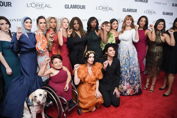 Mia Ives-Rublee with fellow Women's March Organizers at Glamour's 2017 Women of the Year Awards.